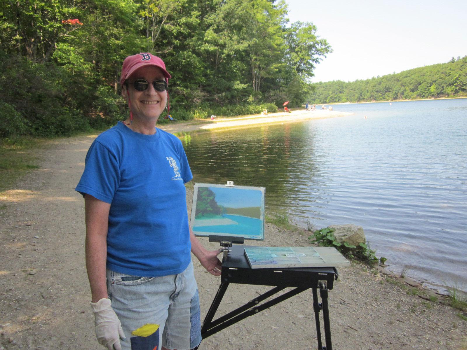 Anne Katzeff painting at Walden Pond.